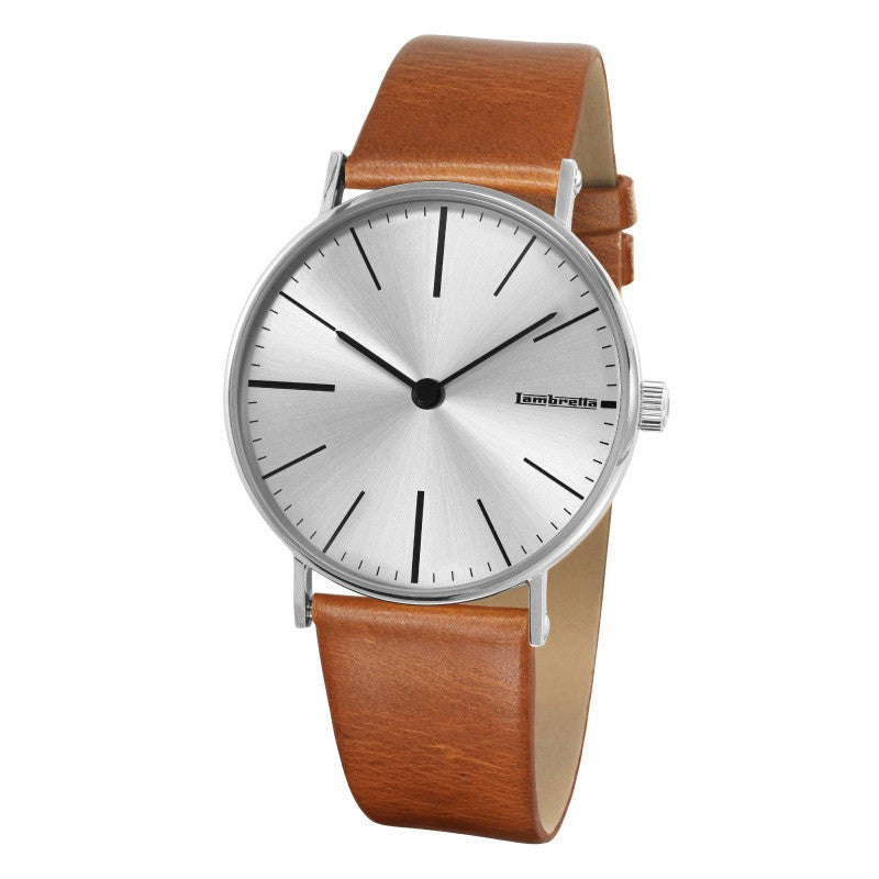 Lambretta Cesare Silver Watch | Cognac Leather