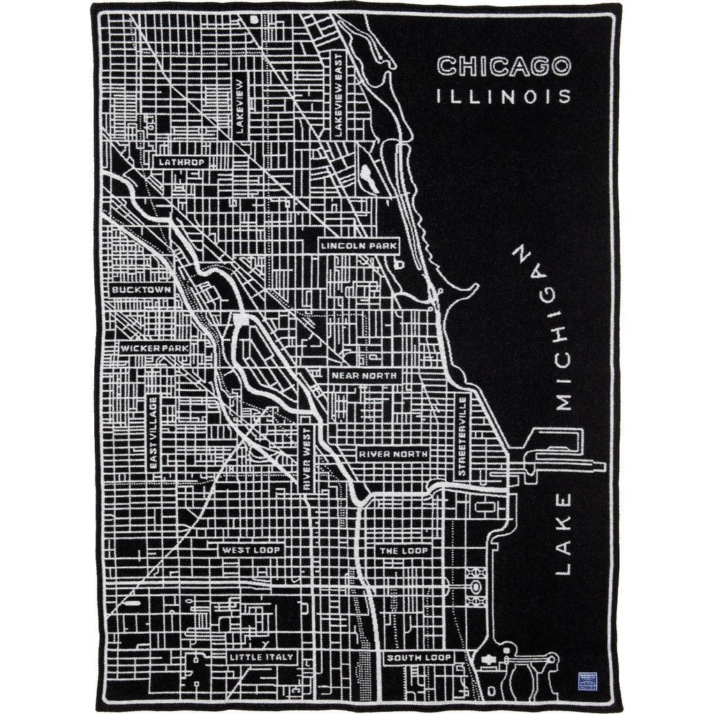 Faribault Chicago Map Wool Throw | Black 17207 50x65