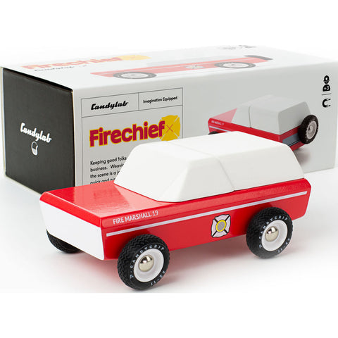 Candylab Master Chief Firechief Car Wooden Toy | Red M2052