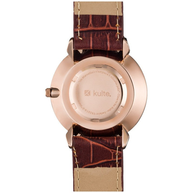 Kulte Cinq Avenues Rose Gold Watch | Brown Leather KCOLC