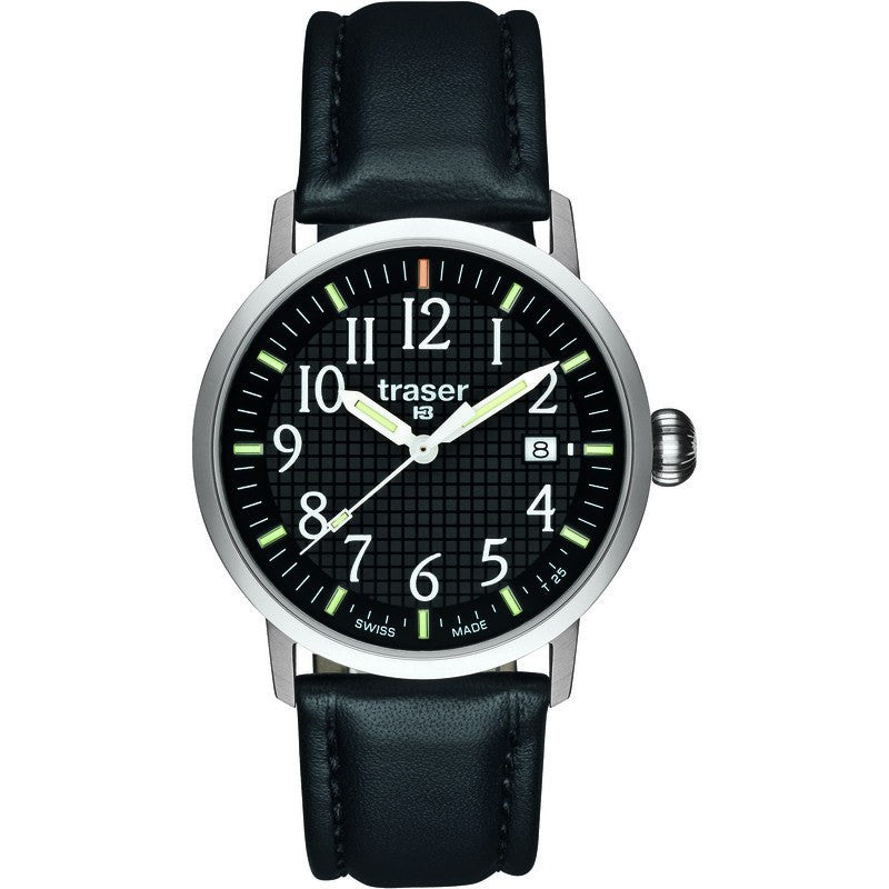 traser H3 Classic Basic Black Men's Watch Leather Strap