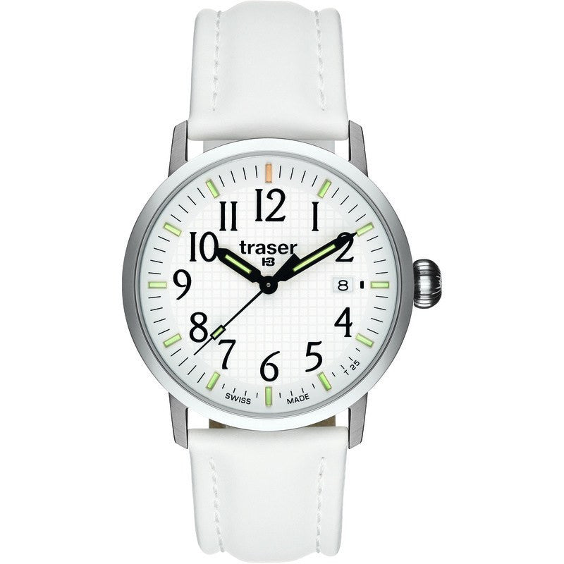 traser H3 Classic Basic White Men's Watch Leather Strap