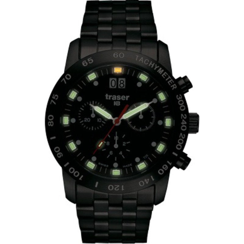 traser H3 BD Pro Green Chronograph Watch | PVD Steel Strap 100254