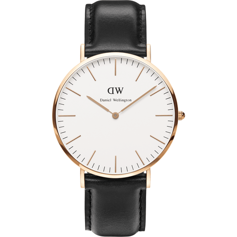 Daniel Wellington Classic Sheffield Black Leather Men's Watch | Rose Gold 0107DW