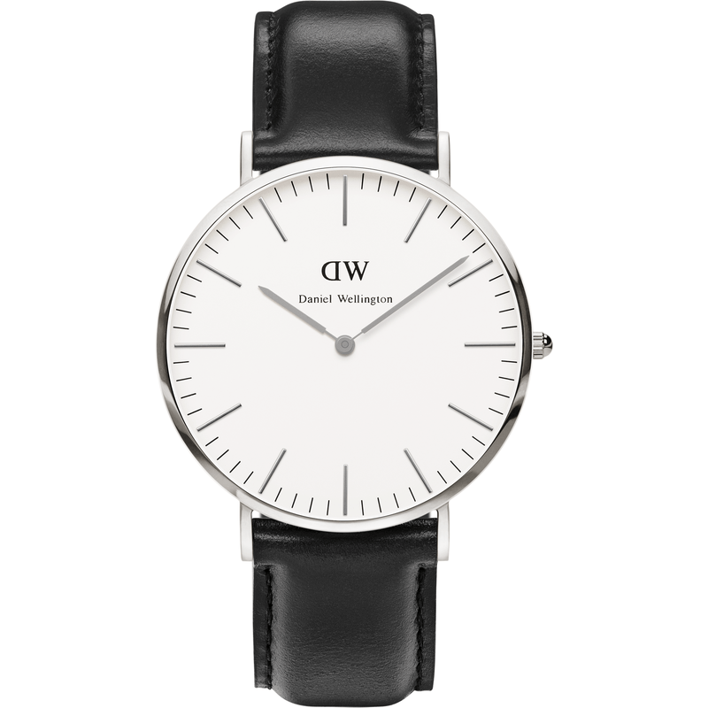 Daniel Wellington Classic Sheffield Black Leather Men's Watch | Silver 0206DW