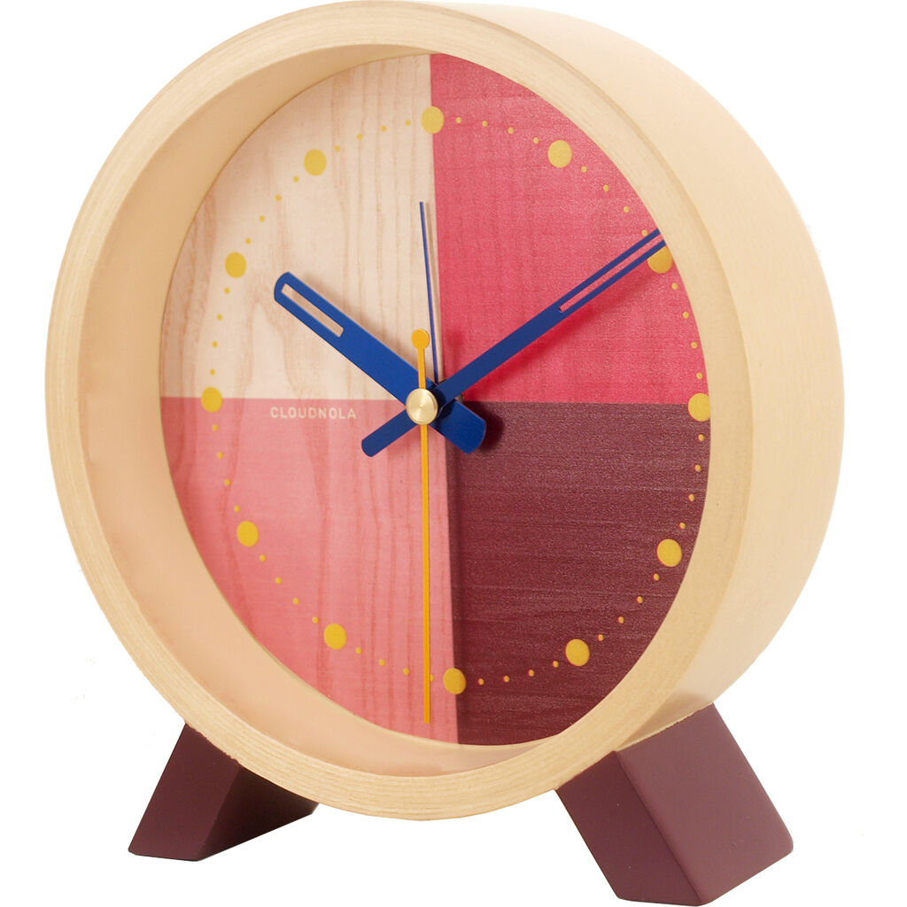 Cloudnola Flor Desk Clock | Wood Red Diam 12 SKU0058