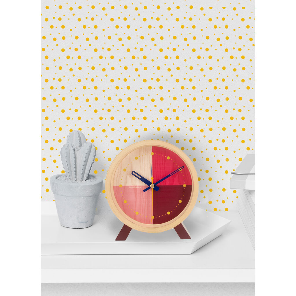 Cloudnola Flor Desk Clock | Wood Red Diam 12 SKU0059