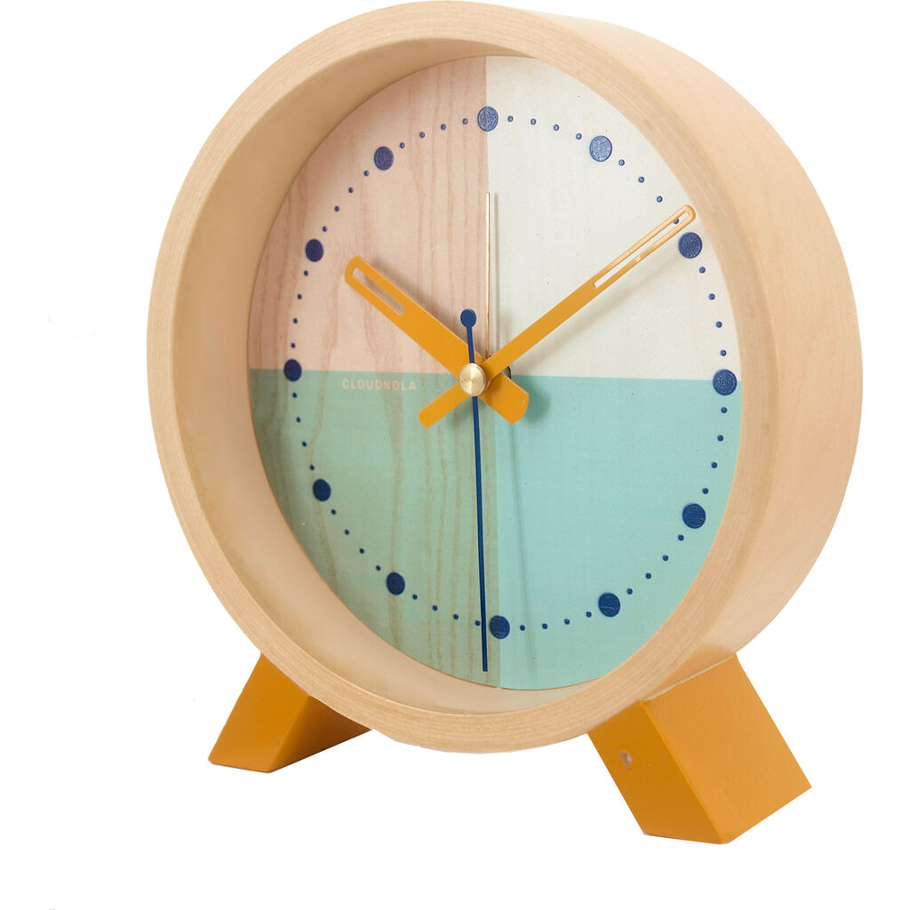 Cloudnola Flor Desk Clock | Wood Turquoise Diam 12 SKU0060