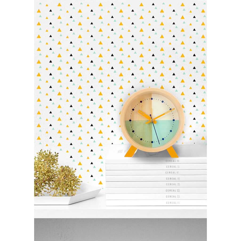 Cloudnola Flor Desk Clock | Wood Turquoise Diam 12 SKU0061