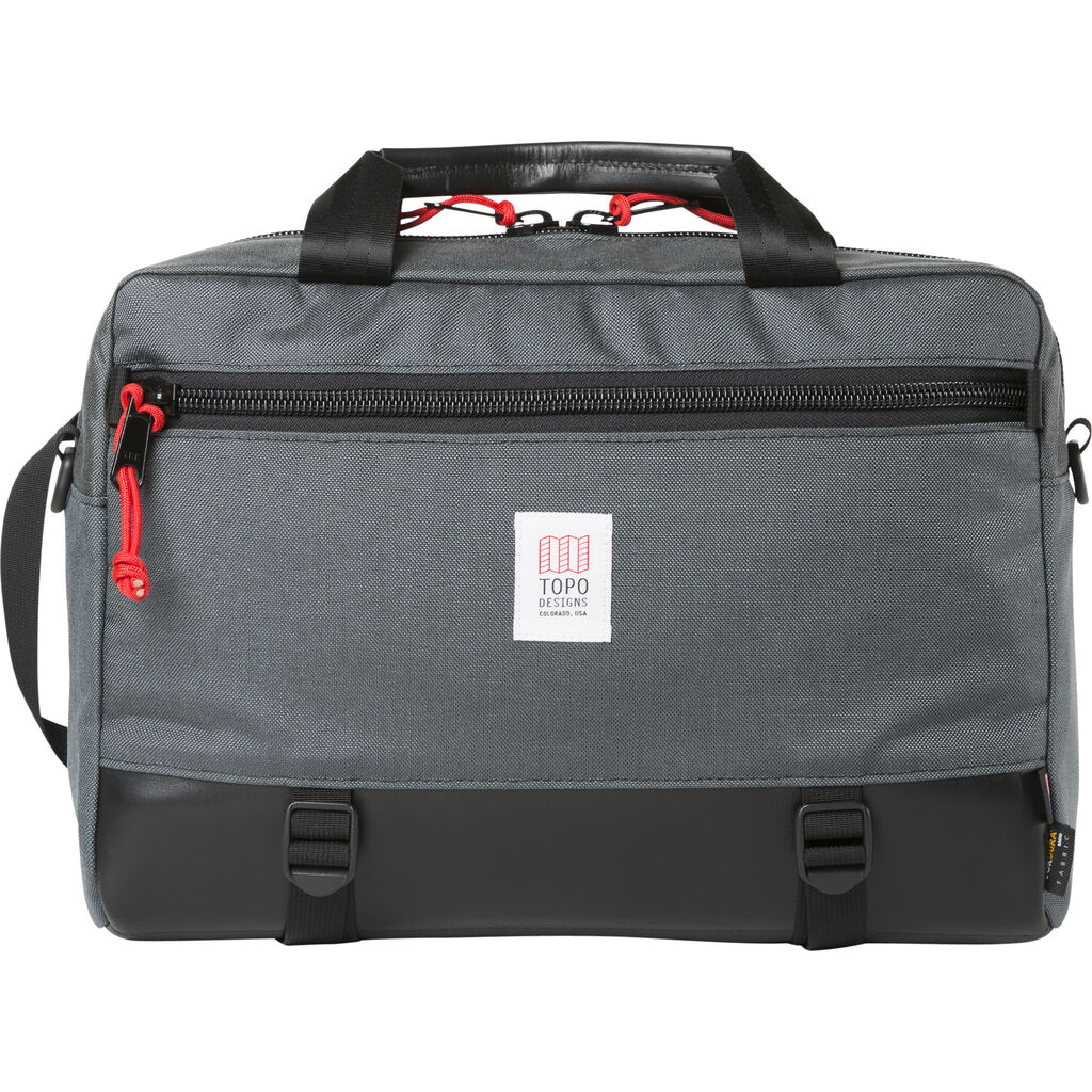 Topo Designs Commuter Briefcase Leather | Charcoal/ Black