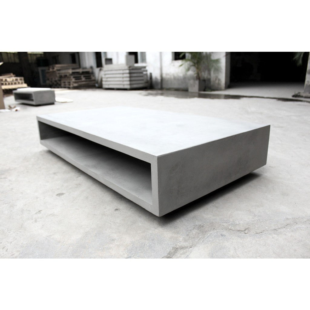 Lyon beton monobloc xl rectangular coffee table light grey for Design couchtisch monobloc xl