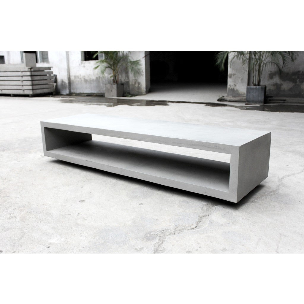 Lyon Beton Concrete Cube Monobloc TV Bench with Wheels | Light Grey  D-09543
