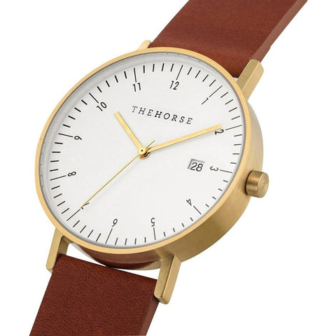 The Horse D Series Gold Watch | Tan D1