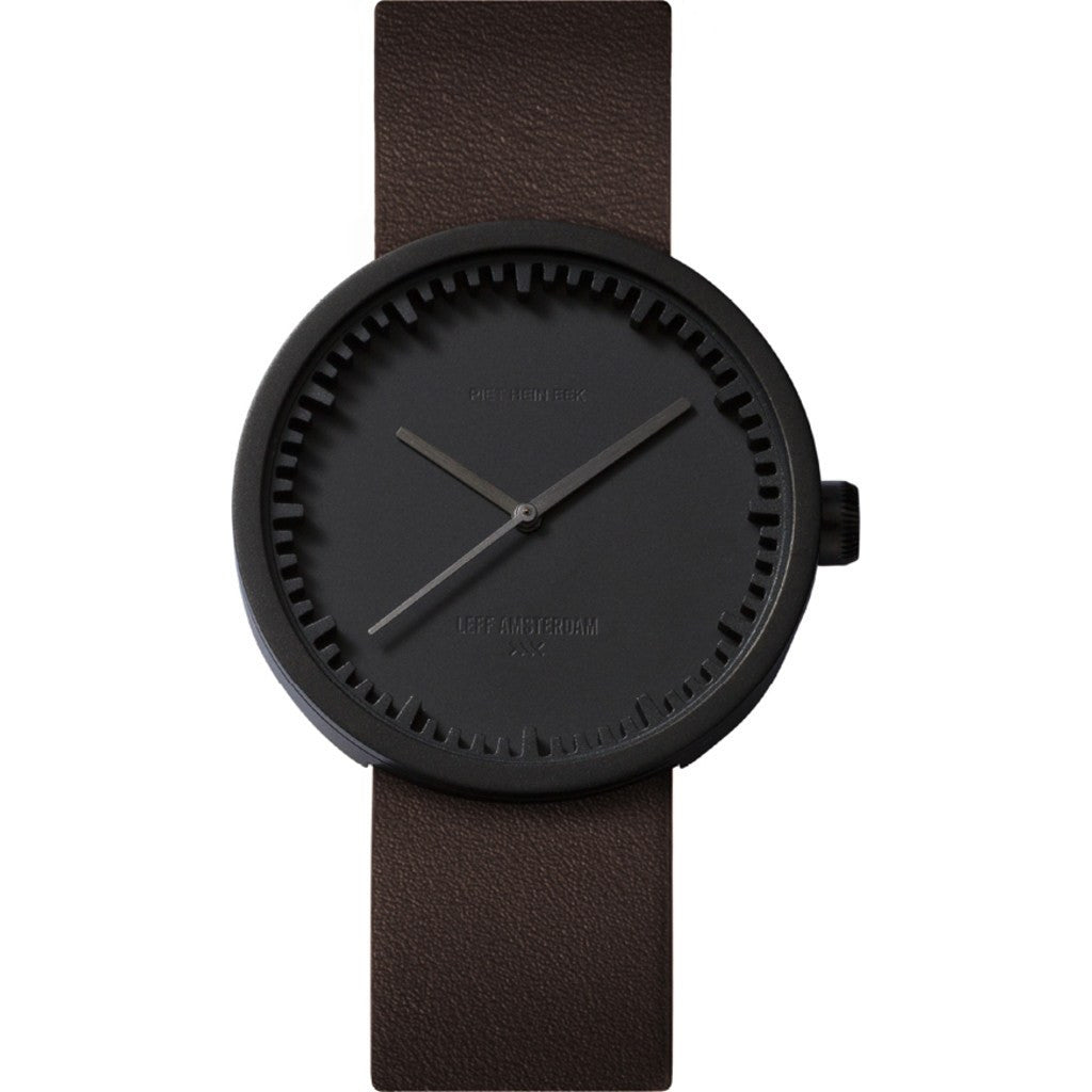 LEFF amsterdam D38 Tube Watch | Black/Brown Leather Strap