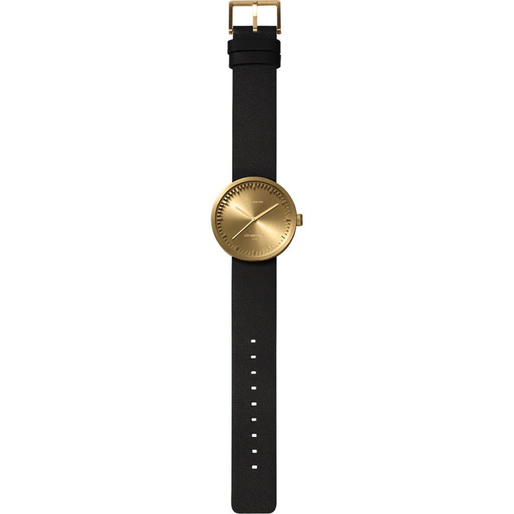 LEFF Amsterdam D38 Tube Watch | Brass/Black Leather Strap LT71023