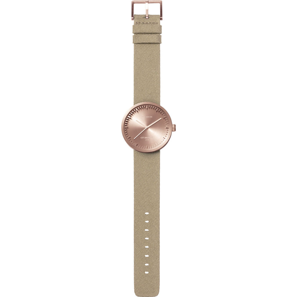 LEFF amsterdam D38 Tube Watch | Rose Gold/Sand