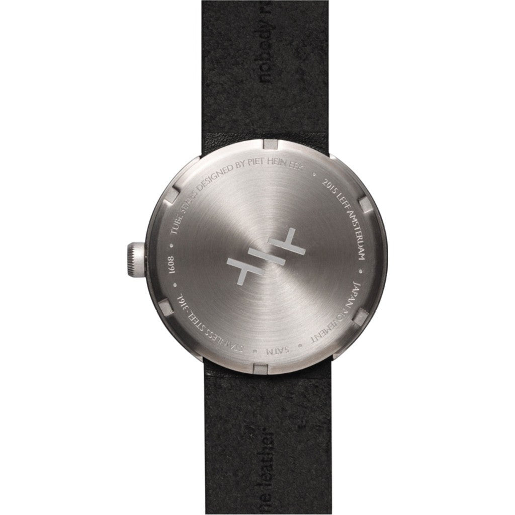 LEFF Amsterdam D38 Tube Watch | Steel/Black Leather Strap LT71003