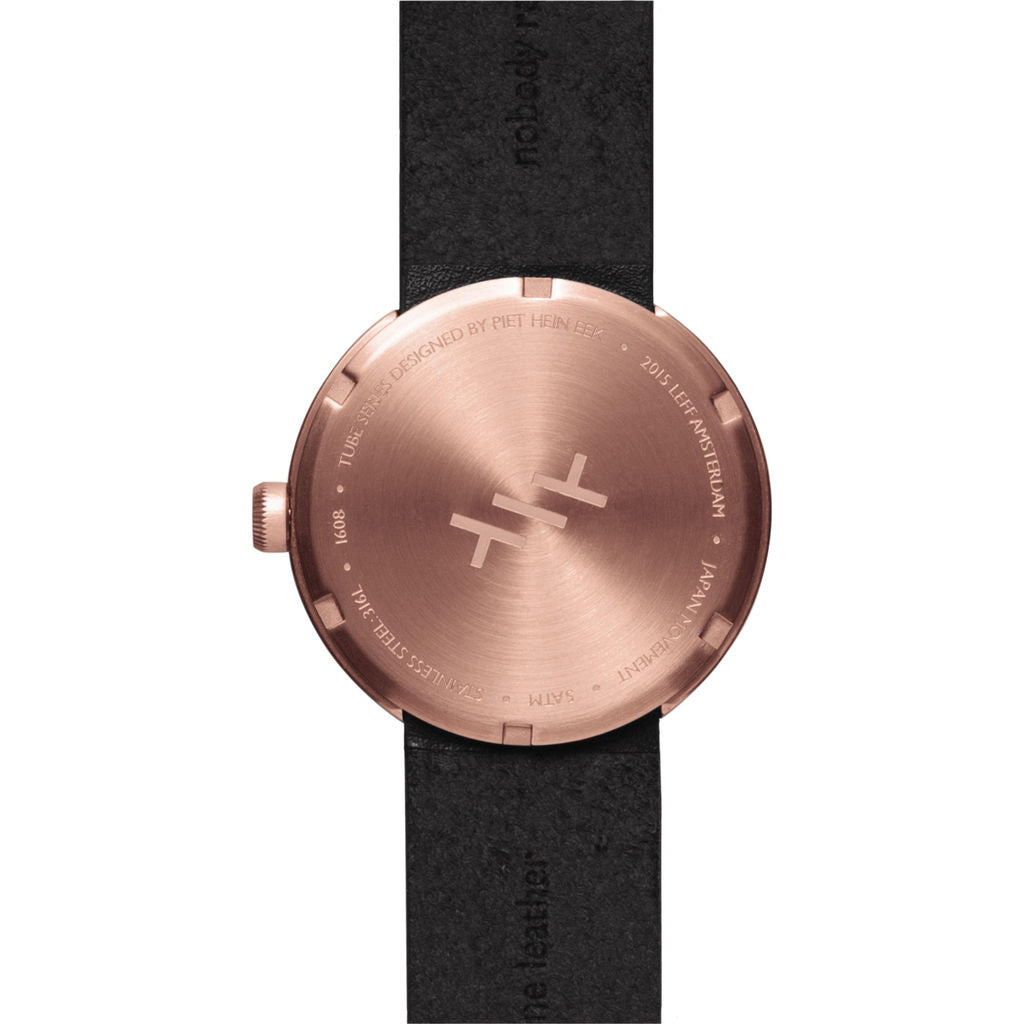 Leff amsterdam d38 tube watch rose gold black leather for Amsterdam products