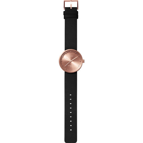 LEFF amsterdam D38 Tube Watch | Rose Gold / Black Leather Strap-LT71031