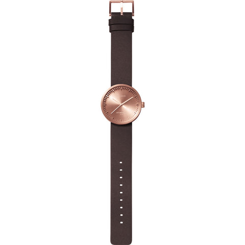 LEFF amsterdam D38 Tube Watch | Rose Gold / Brown Leather Strap-LT71032