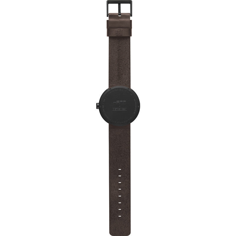LEFF amsterdam D42 Tube Watch | Black/Brown Leather Strap
