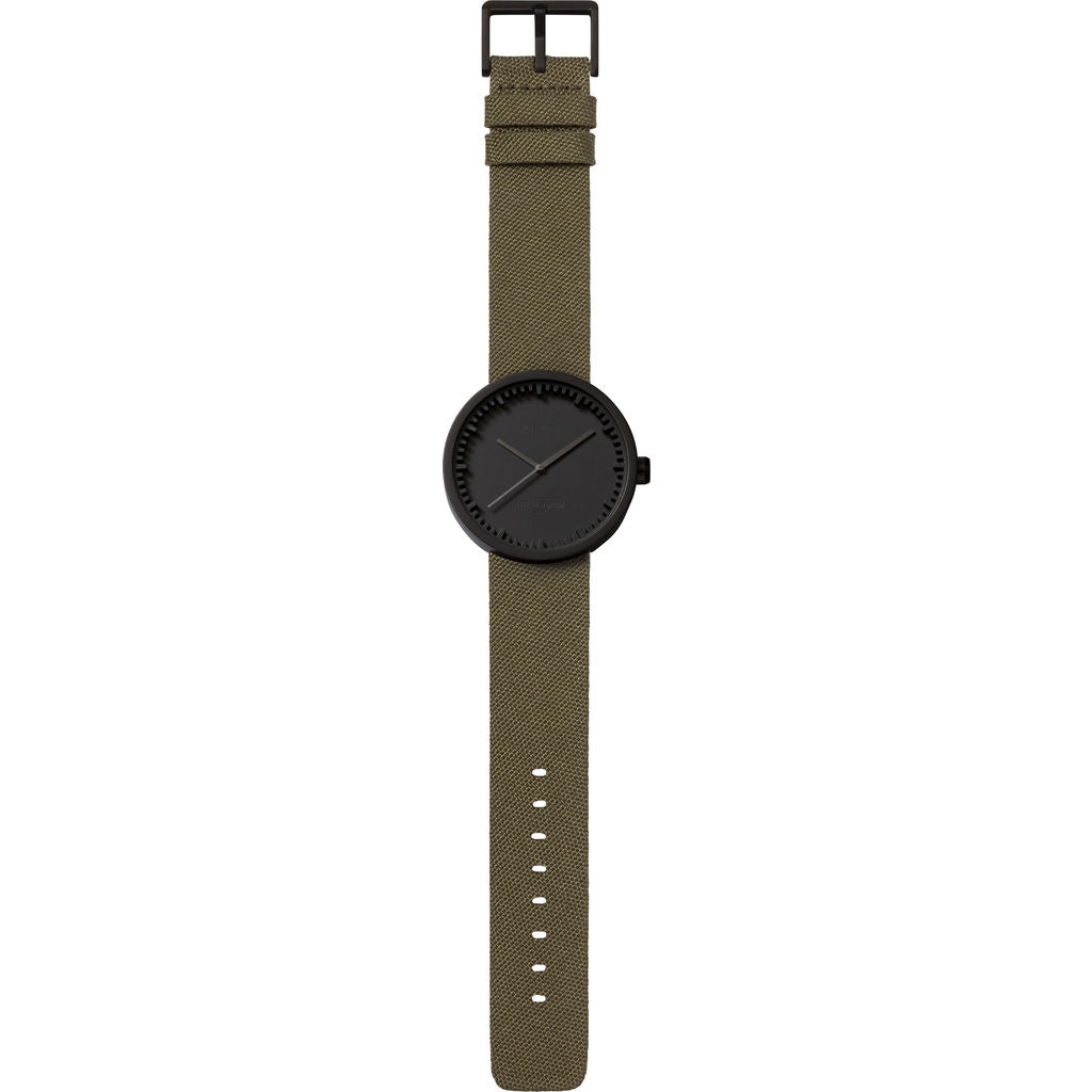 Leff Amsterdam D42 Tube Watch Cordura Leather | Black/Green