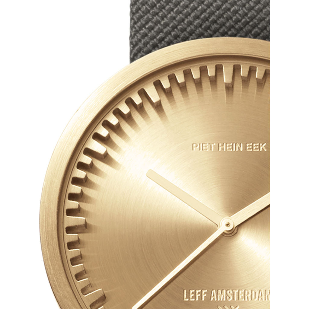 Leff Amsterdam D42 Tube Watch Cordura Leather | Brass/Grey
