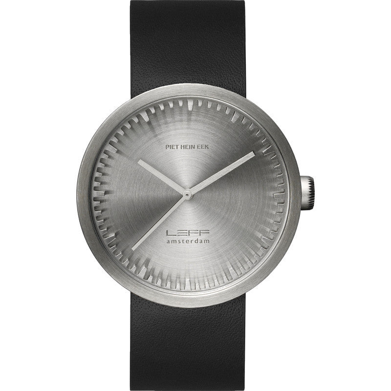 LEFF amsterdam D42 Tube Watch | Steel/Black Leather Strap