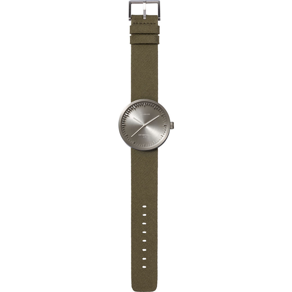Leff Amsterdam D42 Tube Watch Cordura Leather | Steel/Green