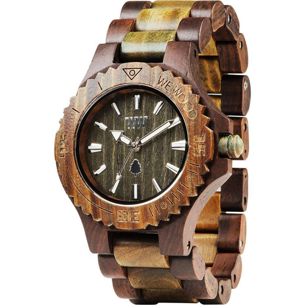 WeWood Date Indian Rosewood/Guaiaco Watch | Chocolate/Army Wdchar
