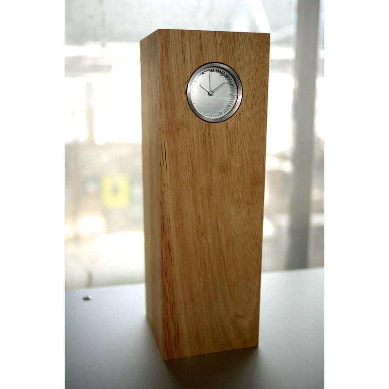 LEFF Amsterdam Tube Wood Desk Clock | Steel/Natural Hevea