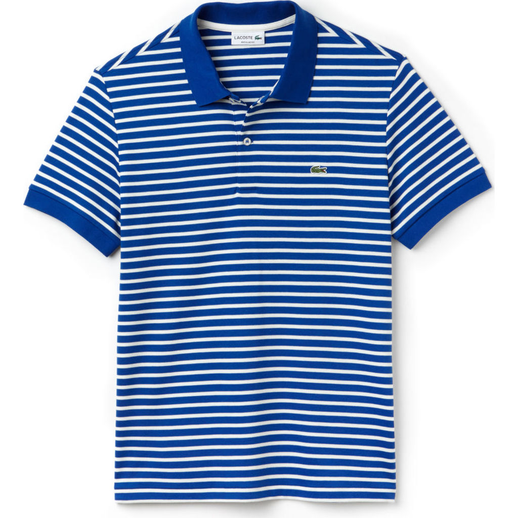 441dbefa9 Lacoste Regular Fit Striped Pima Men s Polo Shirt in Steamship Blue ...