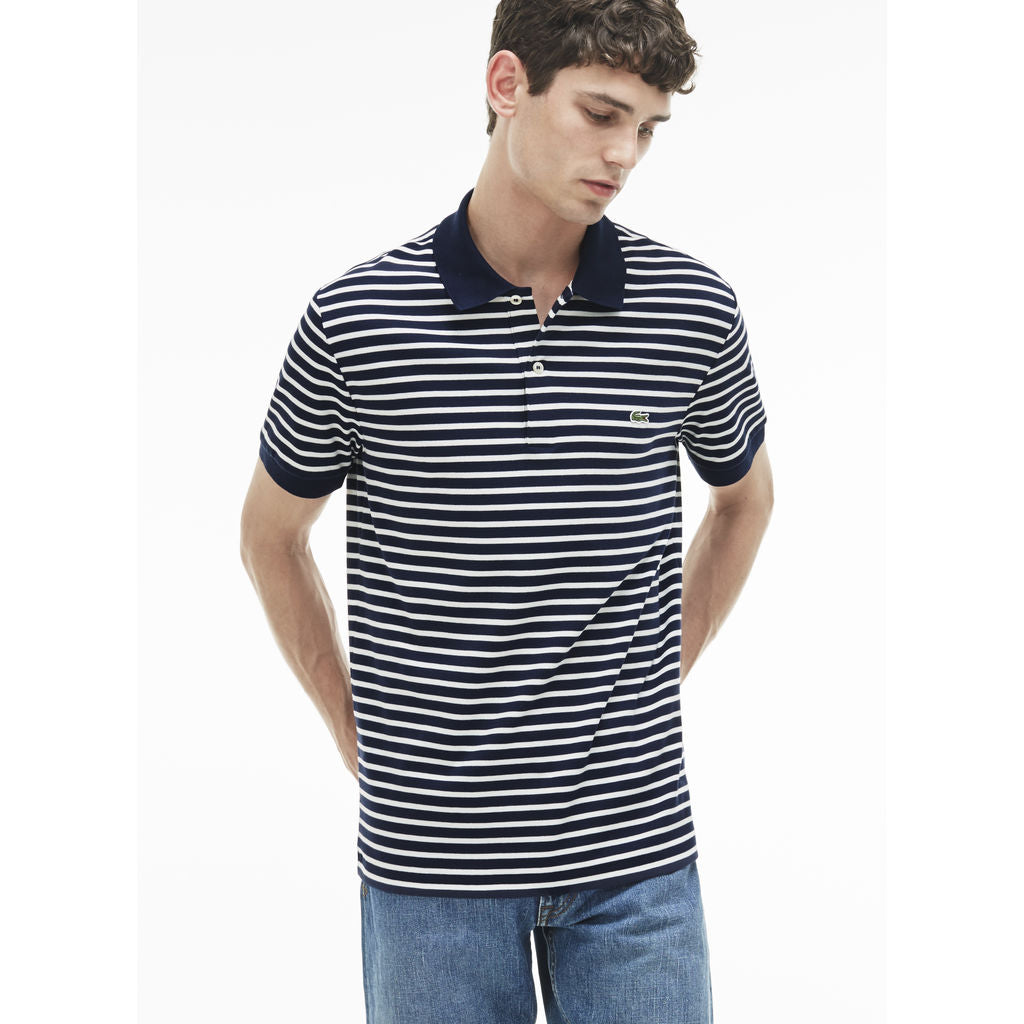 fb5849b7eca8 Lacoste Regular Fit Striped Pima Men s Polo Shirt in Navy Blue White ...
