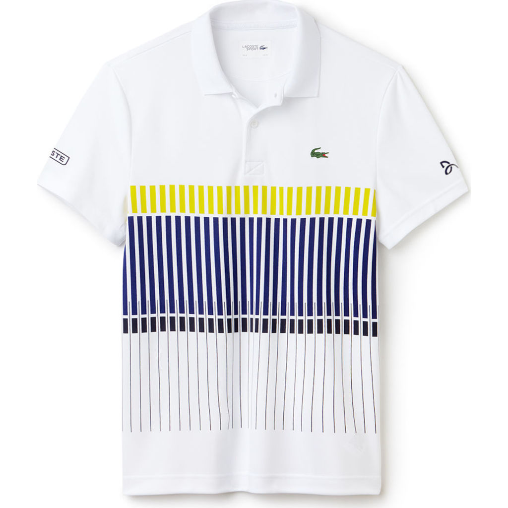 e018e0c8a75c4 Lacoste X Novak Djokovic Vertical Stripe Men s Polo Shirt in White ...