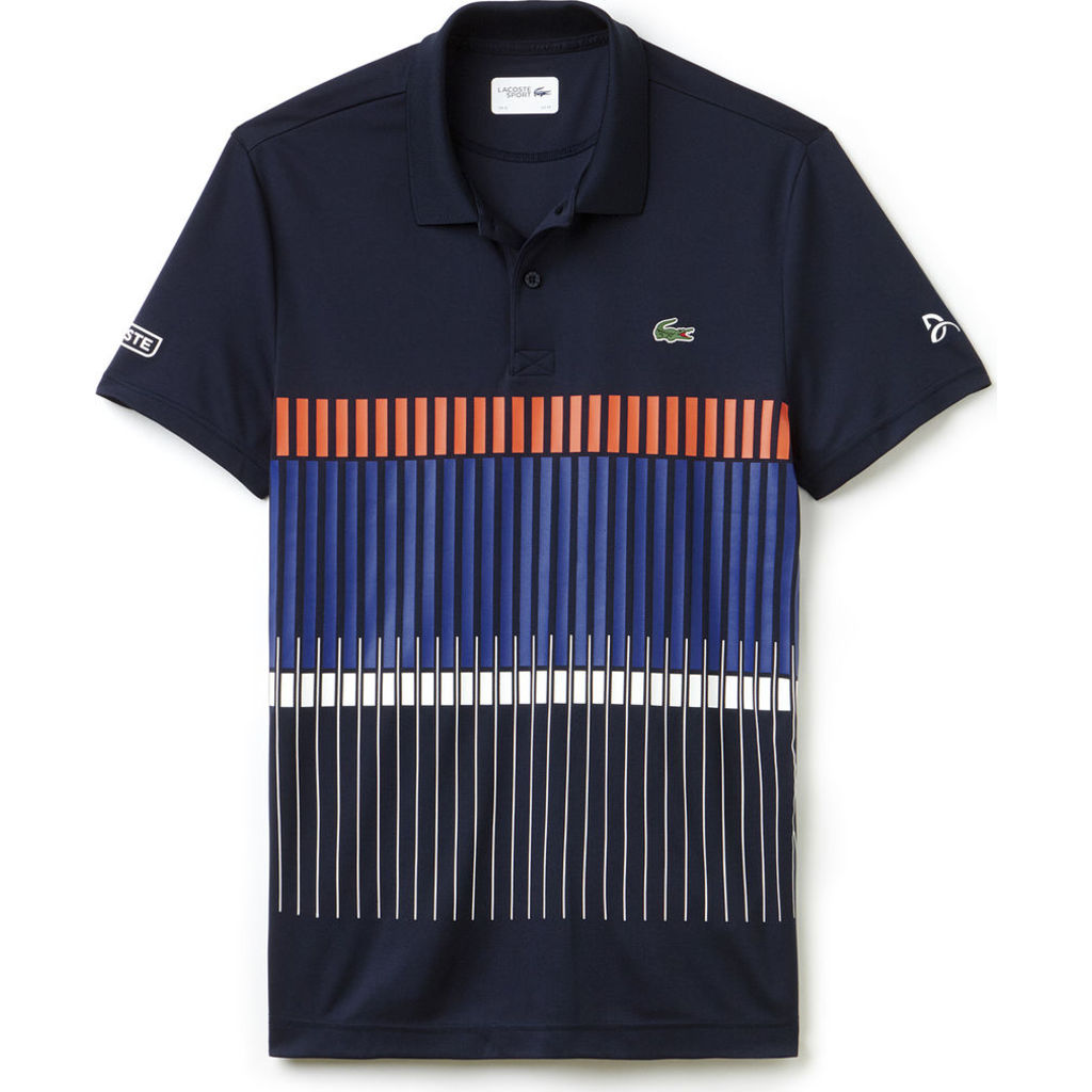 8e690eec6c3b1 Lacoste X Novak Djokovic Vertical Stripe Men s Polo Shirt in Navy ...