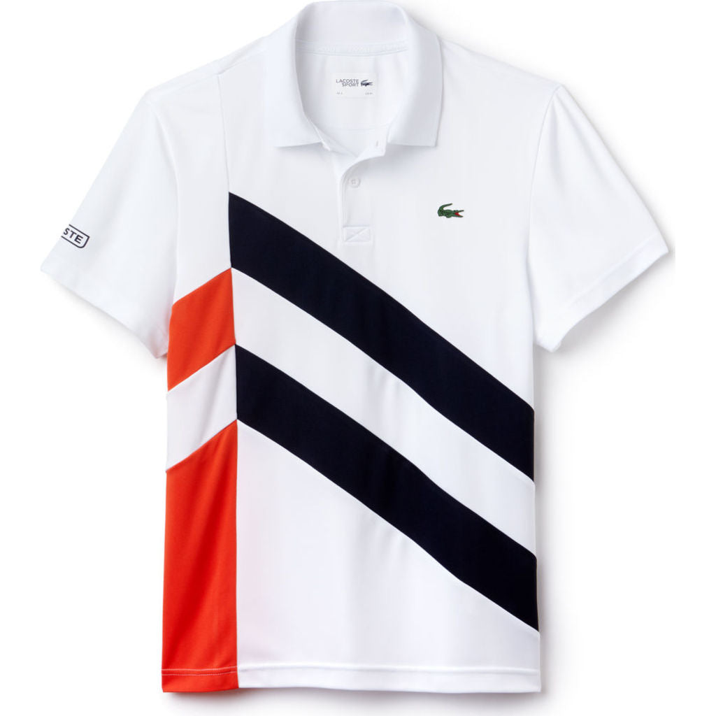 lacoste sport colorblock band tech pique men 39 s t shirt in white navy blue red sportique. Black Bedroom Furniture Sets. Home Design Ideas