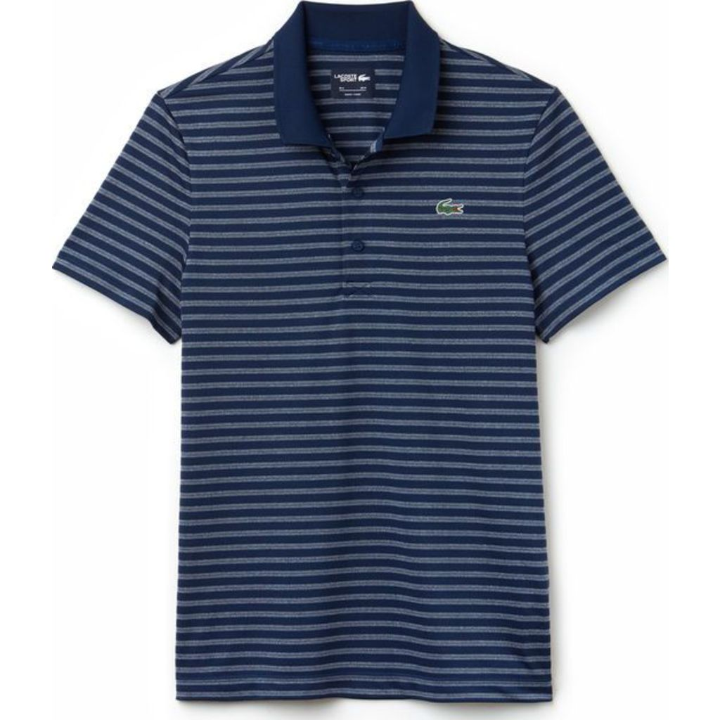 848d5ef452 Lacoste Men's Sport Striped Technical Jersey Golf Polo