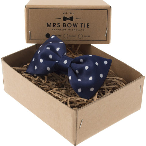 Mrs Bow Tie Broxton Ready-Tied Bow Tie | Navy DOTS355