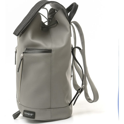 Venque Diamond Mini Leather Backpack | Gray / Black 1501