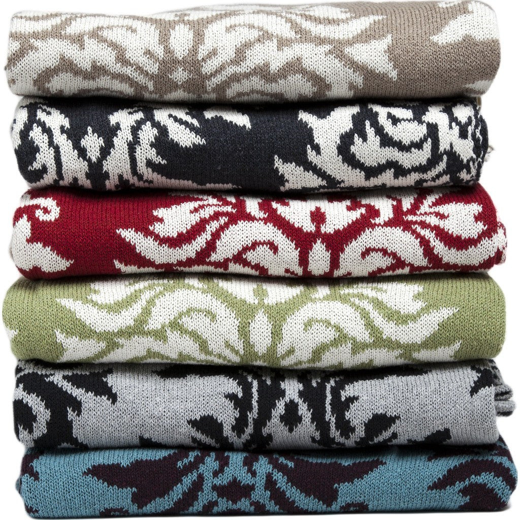 in2green Damask Reversible Eco Throw | Aluminum/Black BL02RDK5
