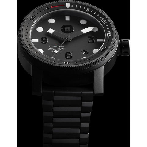 MINUS-8 Diver Black/Black Watch | Titanium P024-013-DBW-ML