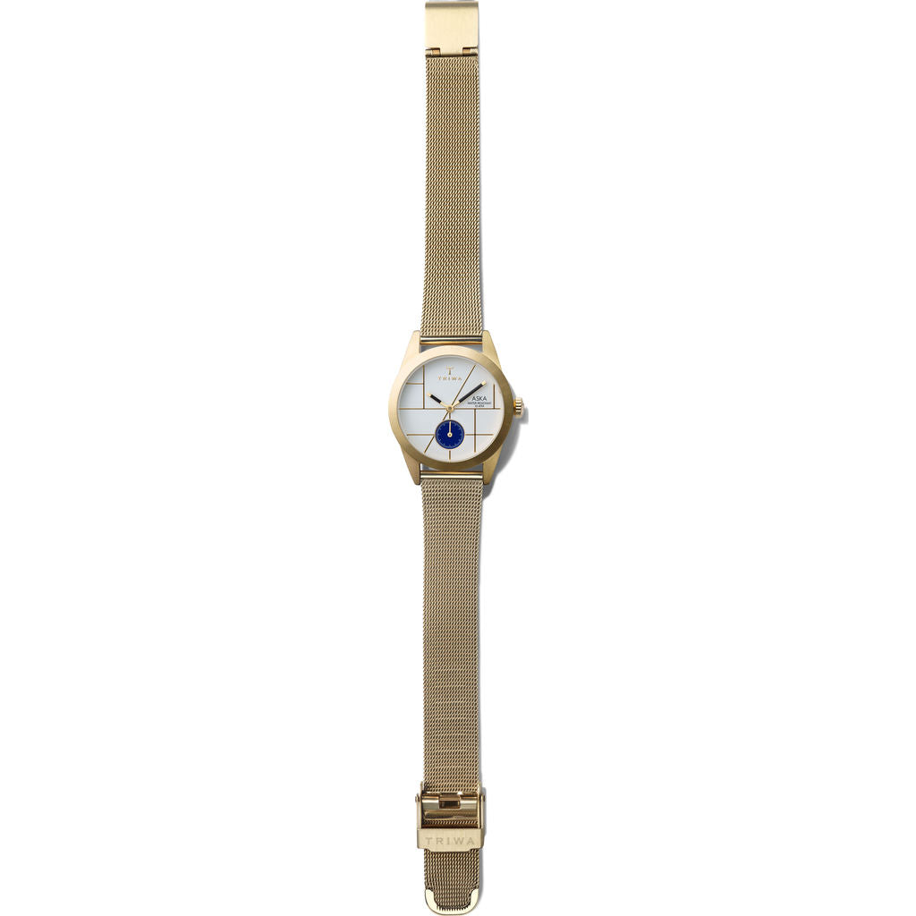 Triwa Dixie Aska Watch | Gold Mesh Super Slim AKST106-MS121313