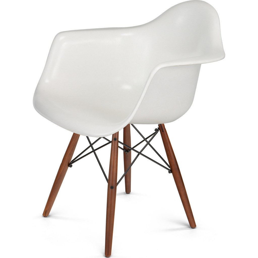 Modernica Case Study Walnut Dowel Arm Shell Chair | Black/White FIB-W-DSA-BLK-WAL