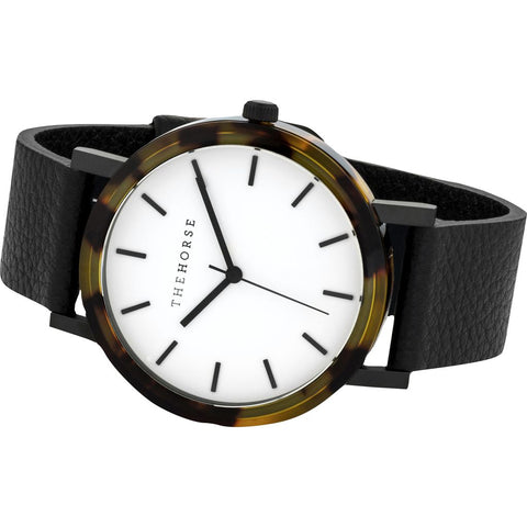 The Horse Resin Brown Tortoise Watch | White/Black E2