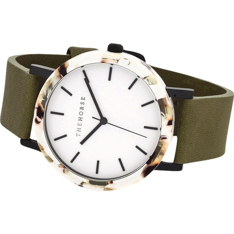 The Horse Resin White Nougat Watch | White/Olive E4