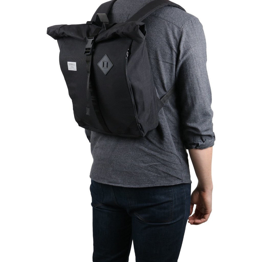 Sandqvist Eddy Rolltop Backpack | Black