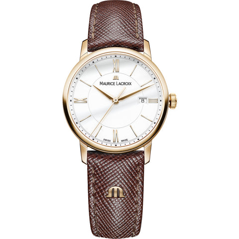 Maurice Lacroix Women's Eliros Date 30mm Mother of Pearl Watch | Gold/Brown Leather EL1094-PVP01-111-1