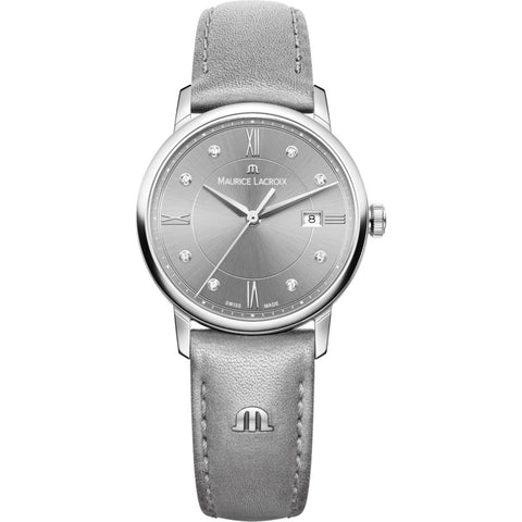 Maurice Lacroix Women's Eliros Date 30mm Mother of Pearl Watch | Grey/Grey Leather EL1094-SS001-250-1