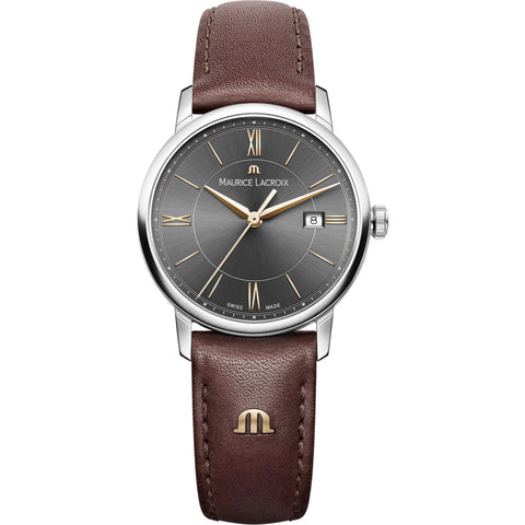 Maurice Lacroix Women's Eliros Date 30mm Watch | Anthracite/Brown Leather EL1094-SS001-311-1