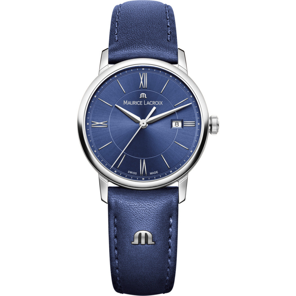 Maurice Lacroix Women's Eliros Date 30mm Watch | Blue/Blue Leather EL1094-SS001-410-1